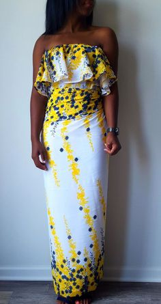 c1b2706c1d0 Meena Chiffon Off Shoulder Yellow White and Blue Floral African Print  Fashion
