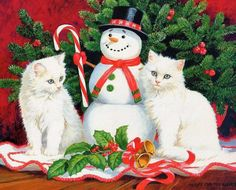 Little Snowmen – Kittens Original acrylic painting by Persis Clayton Weirs kittens sitting beside 'snowman' a holiday decoration Christmas Kitten, Christmas Animals, Vintage Christmas, Merry Christmas, Xmas, Christmas Scenes, Christmas Pictures, Winter Cat, Christmas Interiors