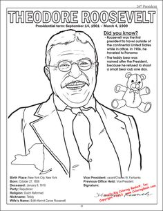 presidents Teddy Roosevelt coloring page from the American Presidents Coloring Book American Presidents, Us Presidents, Theodore Roosevelt Facts, President Facts, Roosevelt Family, Coloring Books, Coloring Pages, Night At The Museum, Facts For Kids
