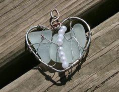 Angel in Sea Glass Beach Glass Heart Necklace by BeachwritingsNJ, $20.00
