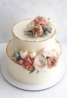 Seminaked Wedding Cake, Pretty Wedding Cakes, Floral Wedding Cakes, Wedding Cake Rustic, Wedding Cakes With Cupcakes, Elegant Wedding Cakes, Elegant Cakes, Wedding Cake Designs, Wedding Rings
