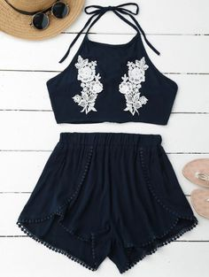 SHARE & Get it FREE   Lace Floral Halter Crop Top and ShortsFor Fashion Lovers only:80,000+ Items • New Arrivals Daily • FREE SHIPPING Affordable Casual to Chic for Every Occasion Join Zaful: Get YOUR $50 NOW!