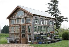 Old window greenhouse.and I yelled at my husband to get rid of all the old windows he recycles from his work. Old Window Greenhouse, Greenhouse Shed, Small Greenhouse, Greenhouse Gardening, Greenhouse Wedding, Pallet Greenhouse, Winter Greenhouse, Aquaponics Greenhouse, Portable Greenhouse