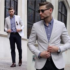 black beige and blue. Trousers with a micro print shirt and tailored blazer with lace ups.