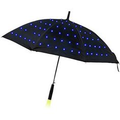 Lumadot Light Umbrella: This cool black umbrella glows with fiber optic light dots covering the canopy. It comes with three modes: off, blinking lights, solid lights. And the light in holder illuminates the ground in front of you. Cool Umbrellas, Umbrellas Parasols, Umbrella Lights, Umbrella Art, Black Umbrella, Under My Umbrella, Singing In The Rain, Geek Chic, Cool Gadgets