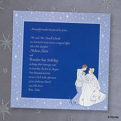 Written in the Stars fairytale wedding theme invitation ideas Cinderella and Prince Charming are dancing the night away on this full color invite. Twinkling stars border a blue background where your wording will be printed.
