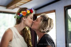 Bride and Mother Kissing