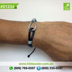 Pulsera en piel y cable de acero para hombres  RD $350 pesos