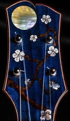 Blue Headstock, Full Moon and Flowers Inlay