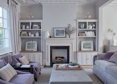 Ask Maria: Every Colour in my Living Room Looks Green! Lilac Living Rooms, My Living Room, Living Room Furniture, Living Room Decor, Townhouse Interior, London Townhouse, Sims, Shabby, Interior Design Services