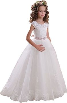 DressHome Scoop Lace Flower Girls Dresses Belt Floor Length Girls First Communion Dress (2, Ivory Pink) DressHome