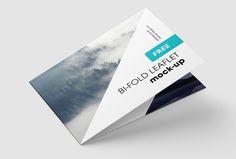 Free horizontal bi-fold leaflet mockup