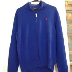BNWT men's Polo sweater Brand new with tags men's cobalt blue half zip Polo sweater. Size Large Polo by Ralph Lauren Sweaters