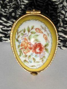 Signed Limoges France Handpainted Egg Shaped Porcelain Trinket Box | eBay