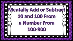 24 task cards geared towards students who are learning how to mentally add or subtract 10 or 100 from numbers between 100 - 900.   Common Core Standard 2.NBT.B.8: Mentally add 10 or 100 to a given number 100-900, and mentally subtract 10 or 100 to a given number 100-900.