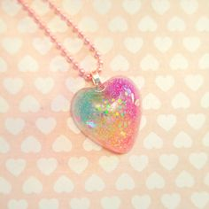 Glitter Heart Rainbow Necklace Handmade with by FrostedSoSweet