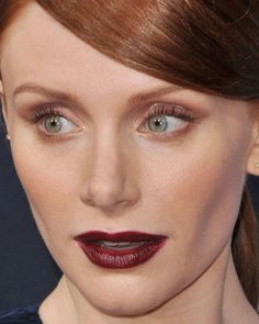 Close-up of Bryce Dallas Howard at the 2015 Hollywood premiere of 'Jurassic World'. http://beautyeditor.ca/2015/06/15/best-celebrity-beauty-looks-bryce-dallas-howard