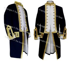 Royal Captains Frock Coat - Naval Uniform 1774 This is a superb military Coat made by an actual military clothing tailor making an ideal collectors item, would make a beautiful and unique presentation piece in any corporate setting. Note, this is a superb replication which has been produced to the same high standards required for ceremonial duties by the original manufacturer making it deal for Theatrical, Movie, Collectors or Museums..