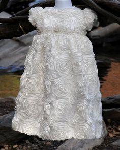 White Rosette Christening / Baby Blessng / Baptismal Gown