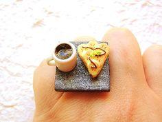 Kawaii Miniature Food Ring Coffee Banana Pie by SouZouCreations, $12.50