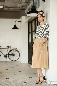 Midi skirt, striped shirt, colorful headband :: Parisian inspired :: ShopRuche