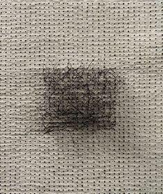Kyoung Ae Cho, Within (1999) - detail  Burn marks, hair, silk, thread