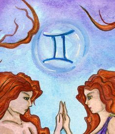 Gemelli Acquerello Segno Zodiacale Stampa da di TheArtofNahima