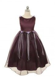 Eggplant Classical Satin with Organza Girl Dress