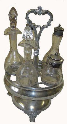 Antique glass and silver cruet set. Antique Glass, Antique Silver, Vintage Antiques, Vintage Items, Condiment Sets, Dinner Themes, Antique Auctions, Silent Auction, Vintage Table