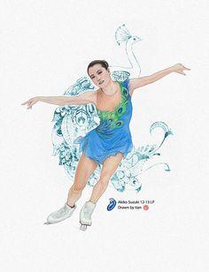 Akiko Suzuki - O from Cirque du Soleil   Drawn by tian #akikosuzuki  #FigureSkating Visit artist's twitter for more: https://twitter.com/tian_skating
