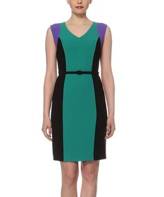Loving this Green & Black Color Block Sheath Dress on #zulily! #zulilyfinds