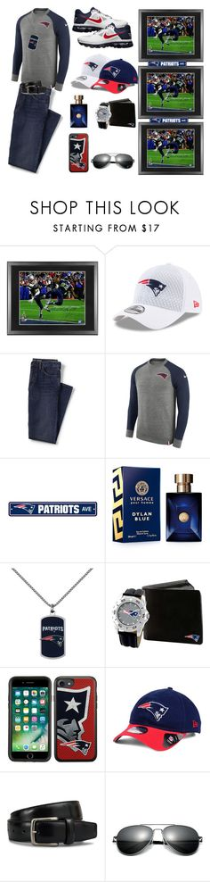 """New England Patriots NFL"" by love-you-as-god-does ❤ liked on Polyvore featuring Frontgate, Lands' End, NIKE, Versace, Game Time, New Era, Tod's, Fathead, men's fashion and menswear"