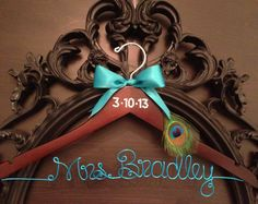 PEACOCK Bridal Hanger / Personalized Custom Bridal by GetHungUp, $36.00