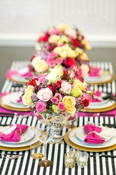b&w stripes, pink & gold, luscious flowers!