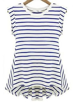 Trendy Stripe Design Round Neck Woman T Shirt