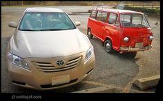 small red subaru 360 van