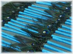 60 Peacock Feather Pen Favors with EGGPLANT ribbon for by Ivyndell, $110.00