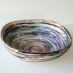 DIY recycled magazine page bowl