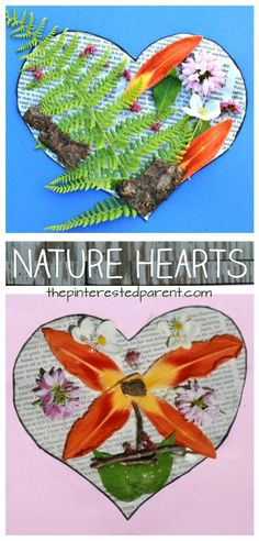 nature heart art - nature kids craft - kid crafts - acraftylife.com #preschool #craftsforkids #crafts #kidscraft