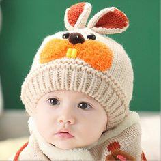 Симпатичные коробки кролика hat для ребенка для детей трикотажные мода дети одеваются шапки мальчики зима теплая skullies шапочки для девочек cap MZ0407