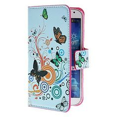 Butterfly and Flowers PU Leather Case with Stand and Card Slot for Samsung Galaxy S4 I9500