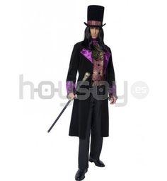 #Disfraz de conde gótico. Este disfraz está compuesto por: chaleco falso con corbata acoplada, chaqueta y sombrero #Halloween #Disfraces #Carnaval