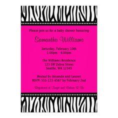 Trendy Hot Pink Zebra Girl Baby Shower Custom Invite
