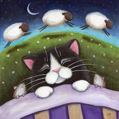 "Sheep Dreams - Cat Art by Lisa Marie Robinson. This was a piece I created inspired by the phrase ""Counting Sheep"". I wonder what kitty is dreaming about? I Love Cats, Crazy Cats, Cool Cats, Art And Illustration, Illustrations, Image Chat, Cat Art Print, Cat Mouse, White Cats"