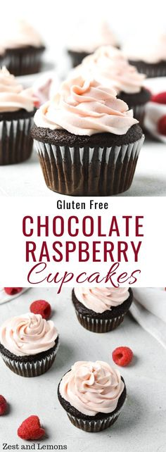 Gluten free chocolate cupcakes topped with a raspberry whipped cream cheese fros.-- Gluten free chocolate cupcakes topped with a raspberry whipped cream cheese frosting – Zest and Lemons Dairy Free Cupcakes, Gluten Free Chocolate Cupcakes, Chocolate Raspberry Cupcakes, Dairy Free Chocolate, Chocolate Recipes, Raspberry Frosting, Chocolate Cream, Chocolate Frosting, Cake Chocolate