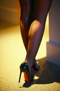 Dot back seam stockings, Christian Louboutin Pigalles... Model/ Stacey #christianlouboutinboots