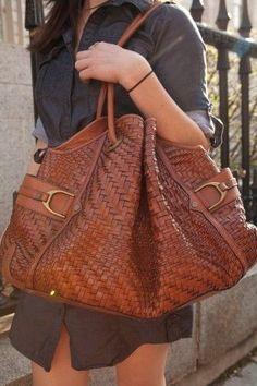 great basket weave leather bag