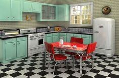 Wonderful Retro Interior Design Inspirations : Red Dining Sets And Green Kitchen Cabinets In Retro Style