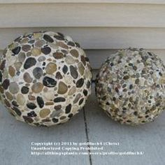 "garden ornaments using Styrofoam balls, pebbles & ""QuickWall""...  (they have a few ideas on the page, this is just one of them)"