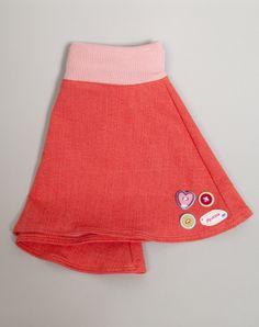 koraal oranje jeans rokje. Leverbaar in mt 92 104 116 128 en 140. prijs 19,95 www.byella.nl